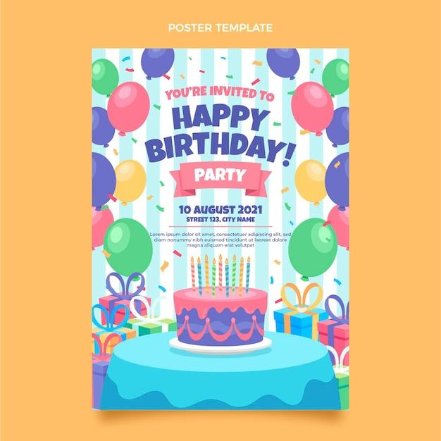 Pôster plano mínimo de aniversário