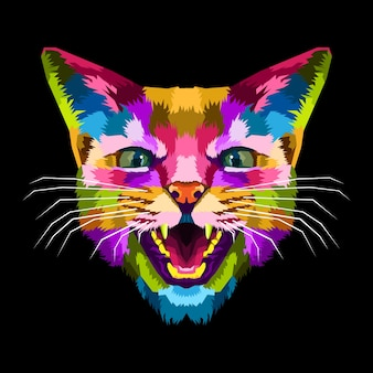 Pôster premium colorido de arte pop de gato