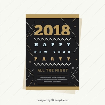 Poster preto e dourado simples do partido do ano novo