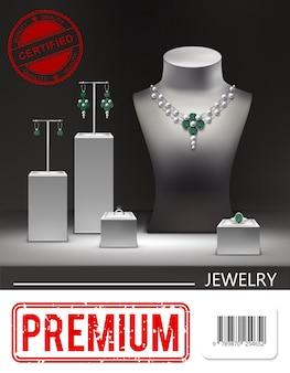 Pôster promocional de joias realistas com brincos de colar de prata e anéis de diamantes esmeraldas em suportes e ilustração de manequim