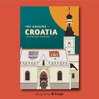 Poster promocional retrô da croácia