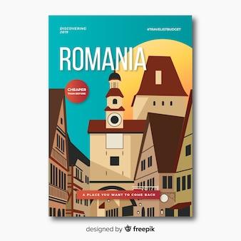 Poster promocional retrô da romênia