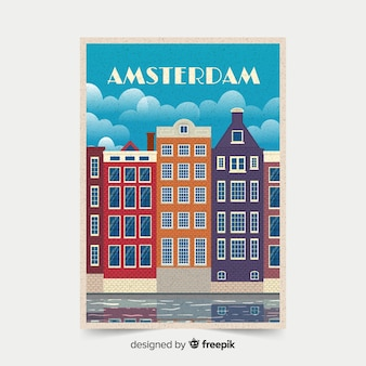Poster promocional retrô de amsterdam