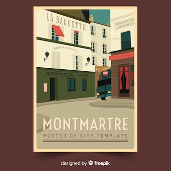 Poster promocional retrô de montmartre