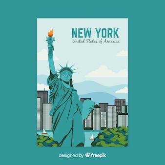 Poster promocional retrô de um modelo de cidade