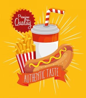 Poster qualidade premium sabor autêntico fast food