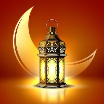 Pôster ramadan kareem, lanterna de celebração