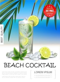 Pôster realista de coquetel de praia tropical com fatias de limão mojito e cubos de gelo de folha de hortelã na paisagem do mar