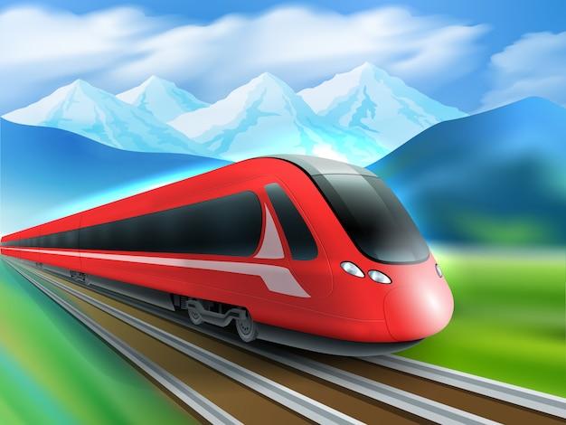 Poster realista de fundo de trem de velocidade de montanhas
