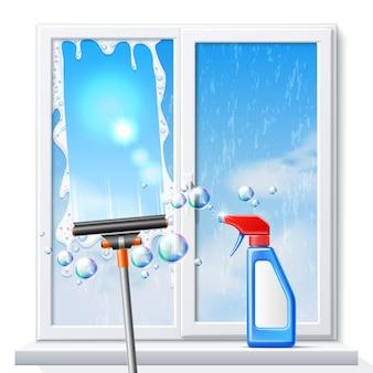Pôster realista de limpeza de janelas com raspador de rodo