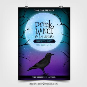 Poster realista do dia das bruxas com corvo