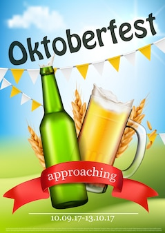 Poster realista festivo do vetor de oktoberfest