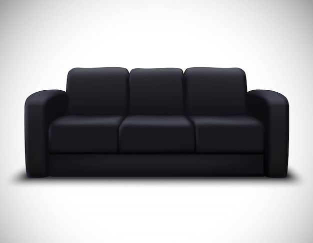 Poster realístico do sofá do elemento do modelo interior