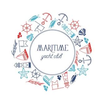 Pôster redondo do iate clube marítimo com numerosos símbolos, incluindo peixe, navio, estrelas vermelhas e bandeiras ao redor do texto em branco
