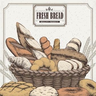 Pôster requintado da confeitaria desenhada à mão com pão delicioso