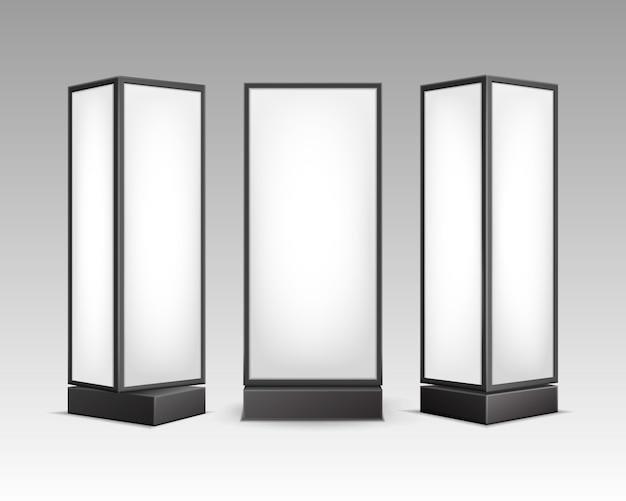 Pôster retangular luminoso branco preto e branco suporta pilares para publicidade interna