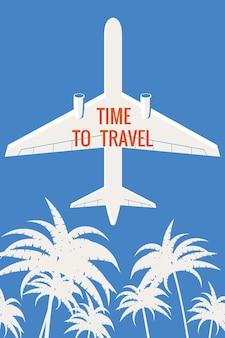 Poster retro avião nas palmas do céu, hora de viajar banner de poster vintage de férias de verão