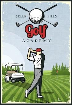 Pôster retro colorido de golfe