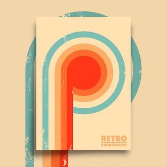Poster retro com textura grunge vintage e listras torcidas coloridas