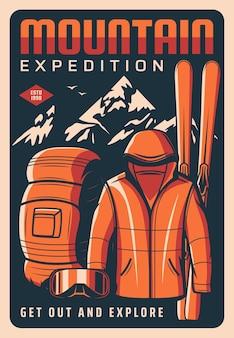 Poster retro da expedição na montanha
