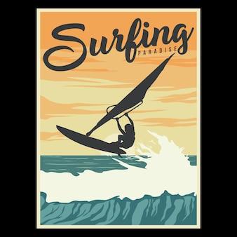 Poster retro da ilustração do paraíso do surf