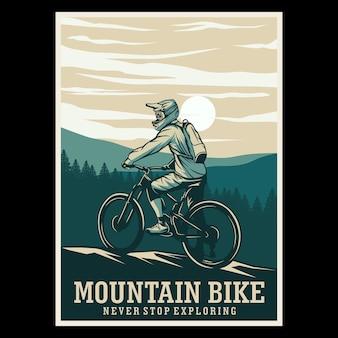 Pôster retro da muntain bike
