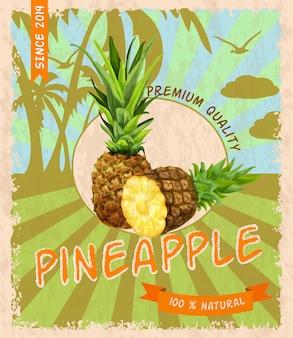 Poster retro de abacaxi