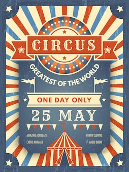 Poster retro de circo. cartaz de anúncio melhor no show com imagem do tema do artista de evento de tenda de circo