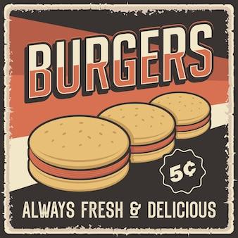 Pôster retrô de hambúrguer vintage