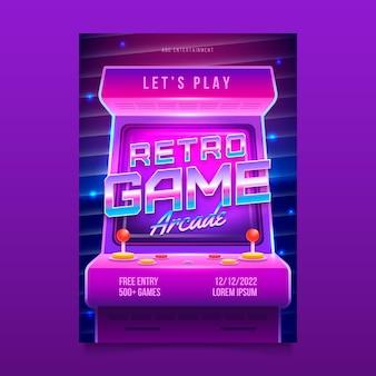 Pôster retrô de jogos de arcade