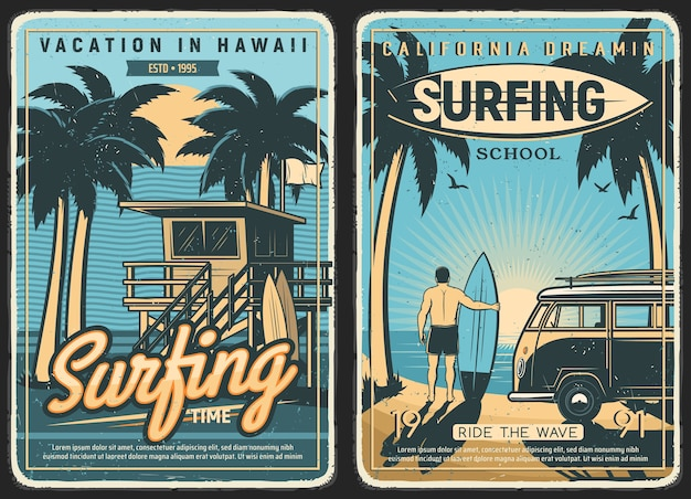 Poster retro de surf, verão de praia de surf e surfista com prancha de surf. ondas oceânicas tropicais da califórnia e do havaí, mar, sol e palmeiras, escola de surf e férias de verão, carro van ao pôr do sol na ilha