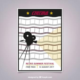 Poster retro do cinema com quadros e câmera