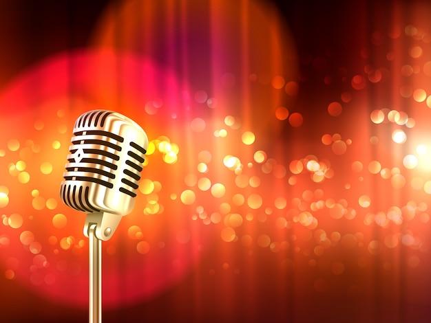 Poster retro do fundo do vintage do microfone