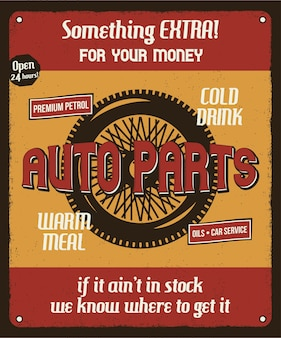 Poster retro do serviço de reparação de automóveis com roda de silhueta e textos.