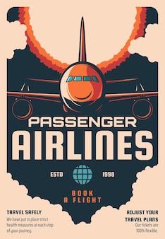 Poster retro do serviço de reserva de voos de companhias aéreas de passageiros