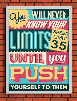 Poster retro do vintage motivacional