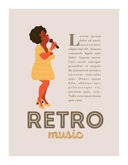 Poster retro. festa de jazz. cantora de jazz.