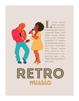 Poster retro. festa de jazz. trompetista e cantora de jazz.