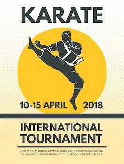 Poster retro no campeonato de luta de karatê