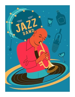 Poster retro. o trompetista toca trombeta.