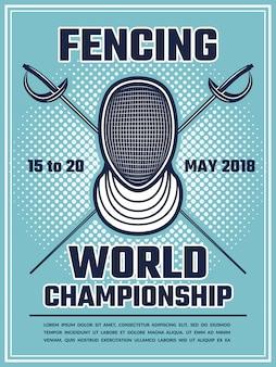 Poster retro para esgrima esporte