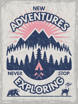 Poster retro para o clube de viajantes. ilustrações de vida selvagem. modelo com lugar para o seu texto. aventure-se na montanha e explore a bandeira da floresta