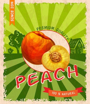 Poster retro pêssego