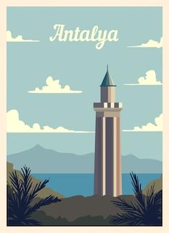 Poster retro skyline da cidade de antália.