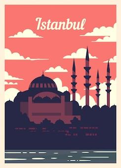 Poster retro skyline da cidade de istambul.