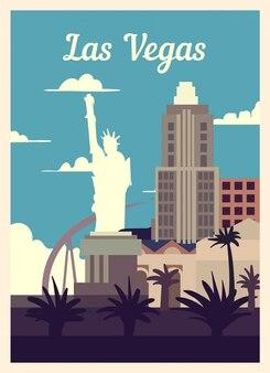 Poster retro skyline da cidade de las vegas.