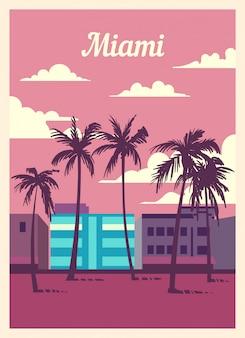 Poster retro skyline da cidade de miami.