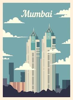 Poster retro skyline da cidade de mumbai.