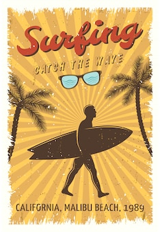 Poster retro surfando