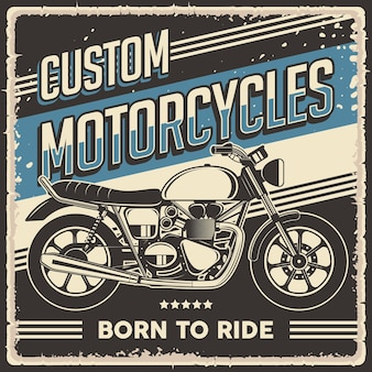 Pôster retrô vintage clássico de motocicleta